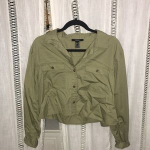 Army Green cropped Button Shirt